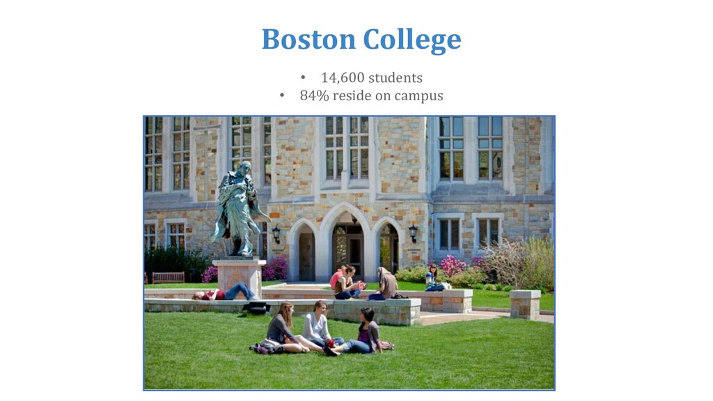 Boston College • 14,600 students • 84% reside o...