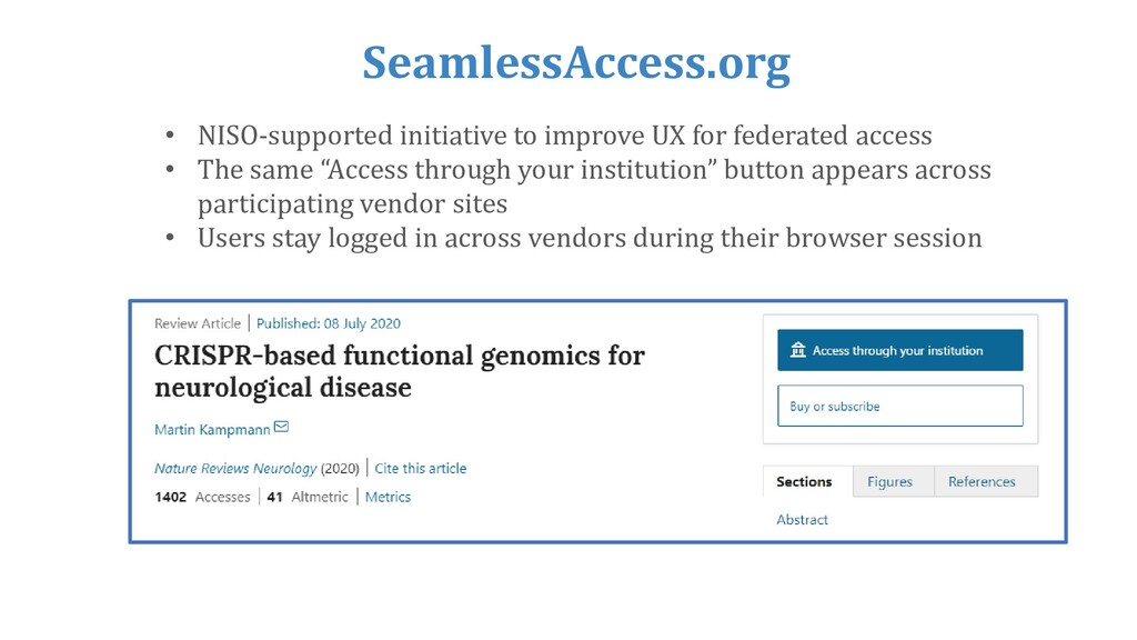 SeamlessAccess.org • NISO-supported initiative ...