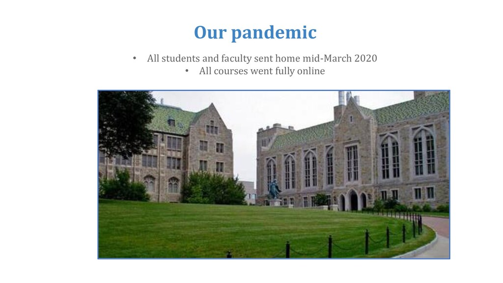 Our pandemic • All students and faculty sent ho...