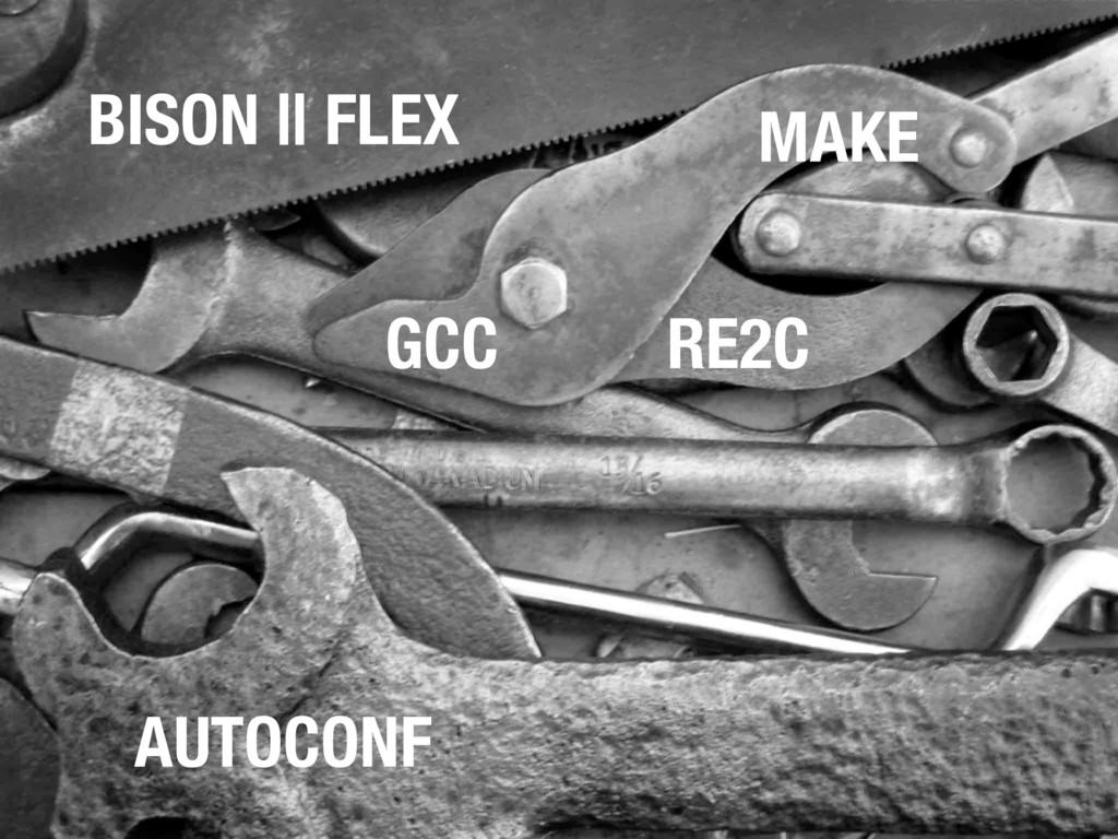 MAKE AUTOCONF GCC BISON || FLEX RE2C