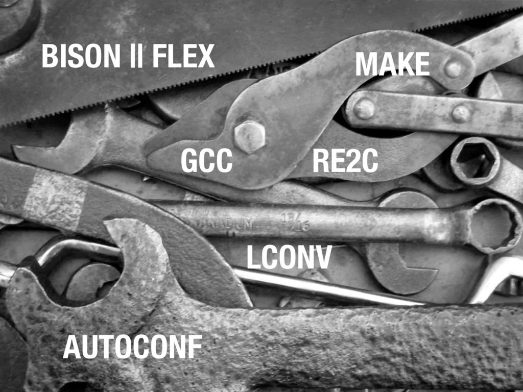 MAKE AUTOCONF GCC BISON || FLEX RE2C LCONV