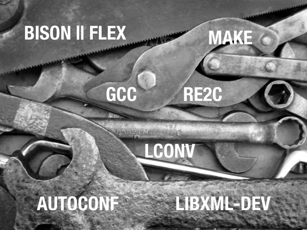 MAKE AUTOCONF GCC BISON || FLEX LIBXML-DEV RE2C...