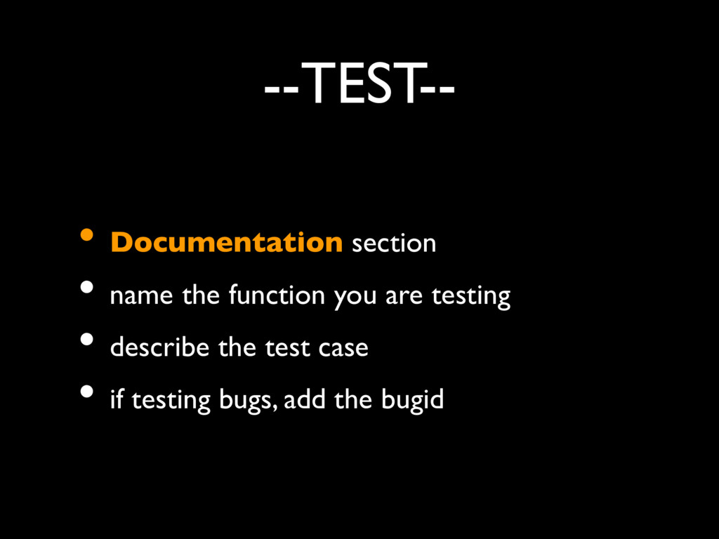 --TEST-- • Documentation section • name the fun...