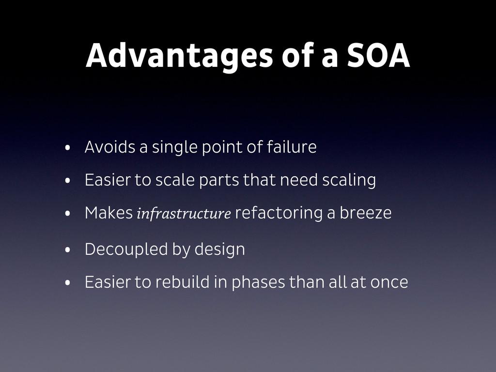 Advantages of a SOA • Avoids a single point of ...