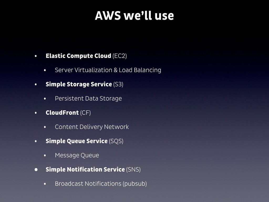 AWS we'll use • Elastic Compute Cloud (EC2) • S...