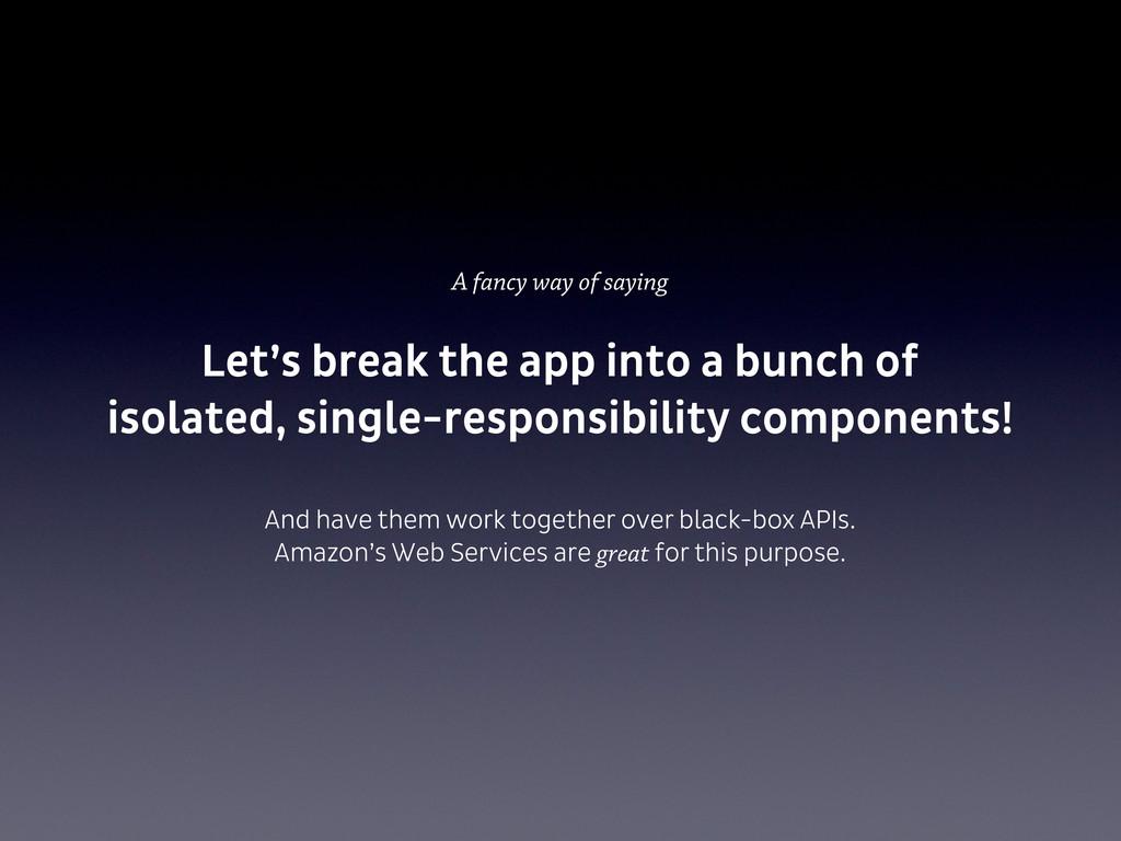 A fancy way of saying Let's break the app into ...