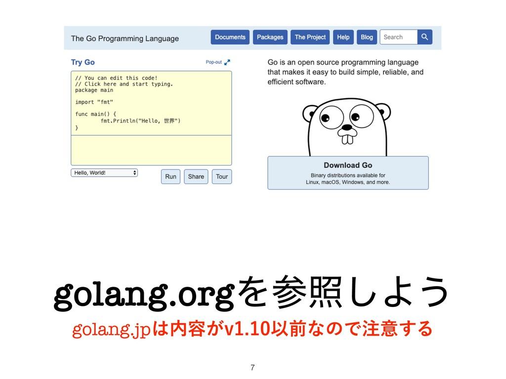 golang.orgΛর͠Α͏ golang.jp༰͕WҎલͳͷͰҙ͢Δ !7