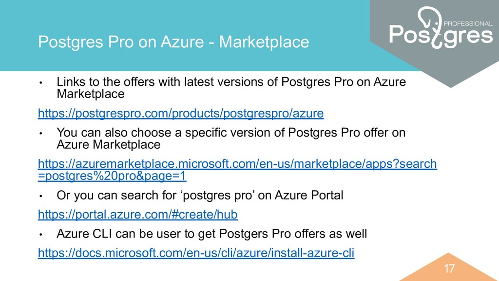 17 17 Postgres Pro on Azure - Marketplace • Lin...