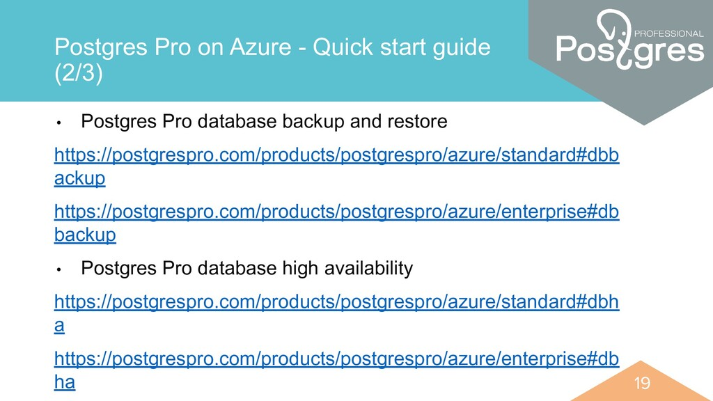 19 19 Postgres Pro on Azure - Quick start guide...