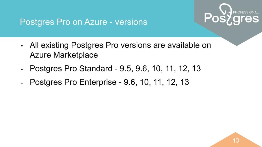 10 10 Postgres Pro on Azure - versions • All ex...