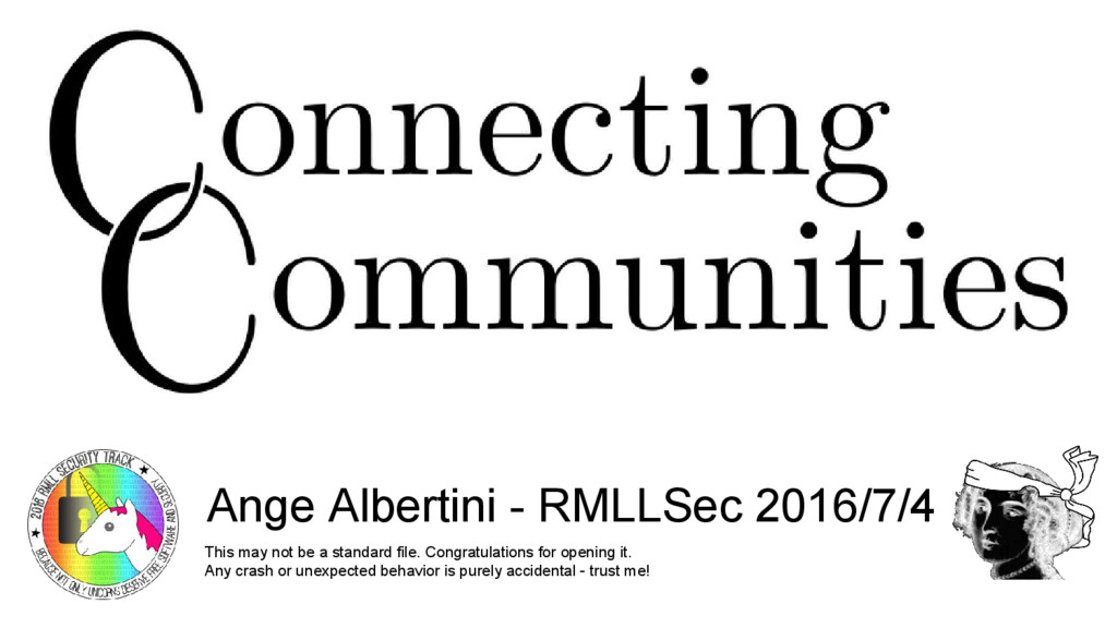 Connecting communities PoC||GTFO Ange Albertini...