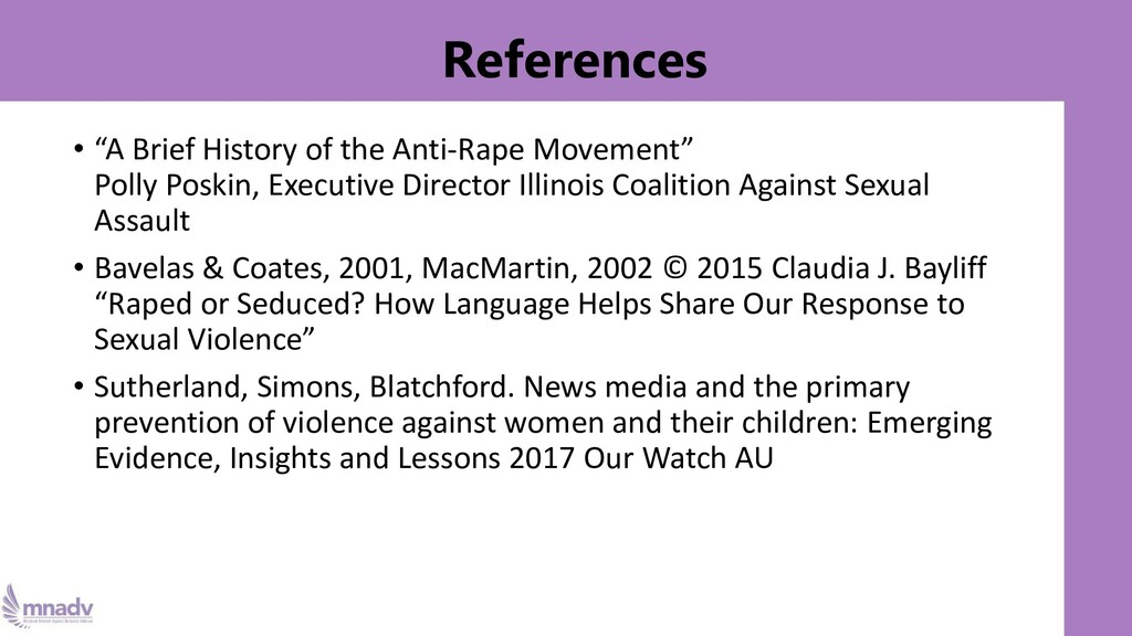 """References • """"A Brief History of the Anti-Rape ..."""