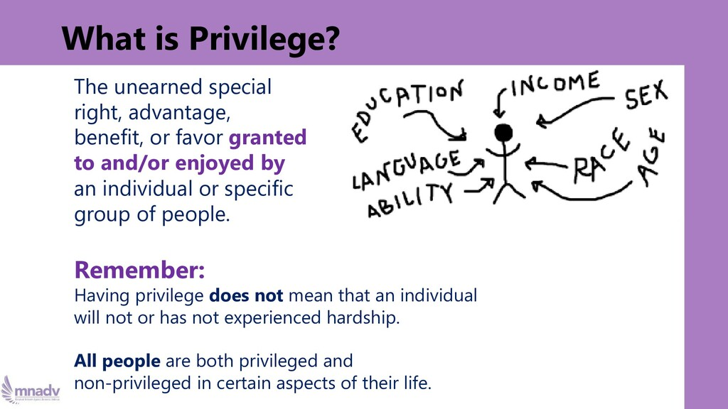 What is Privilege? The unearned special right, ...