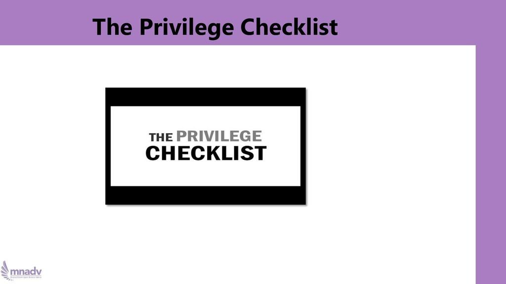 The Privilege Checklist