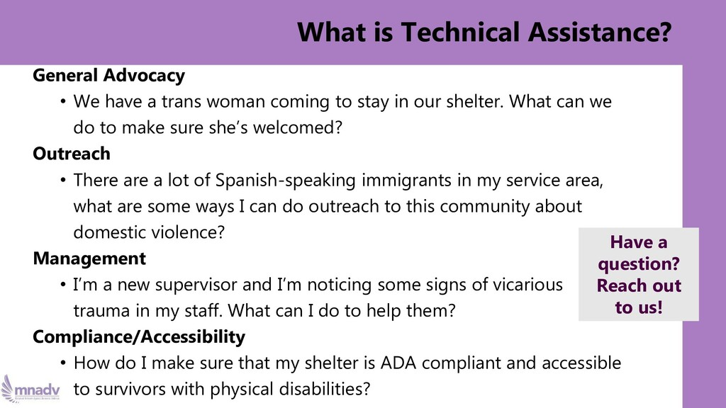 What is Technical Assistance? General Advocacy ...