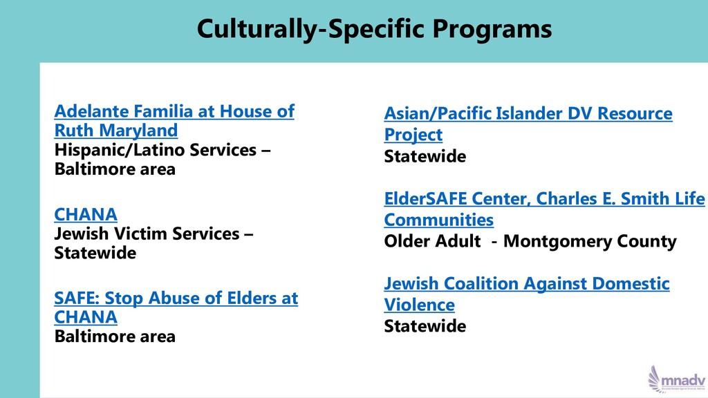 Culturally-Specific Programs Adelante Familia a...