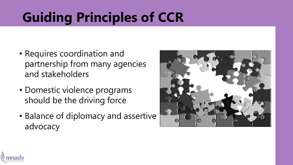 Guiding Principles of CCR • Requires coordinati...