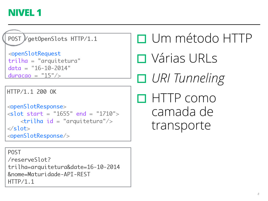 NIVEL 1 ▫︎Um método HTTP ▫︎Várias URLs ▫︎URI Tu...