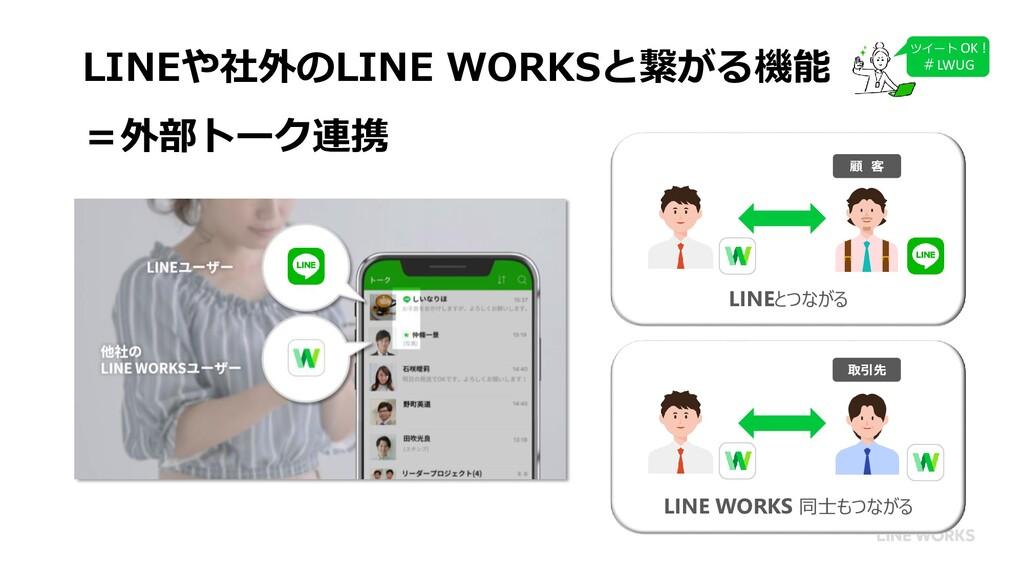 LINEや社外のLINE WORKSと繋がる機能 =外部トーク連携 顧 客 LINEとつながる...