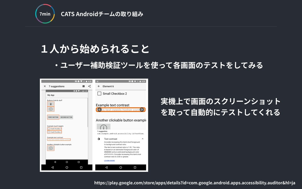 CATS Androidチームの取り組み min 1⼈から始められること ‧ユーザー補助検証ツ...