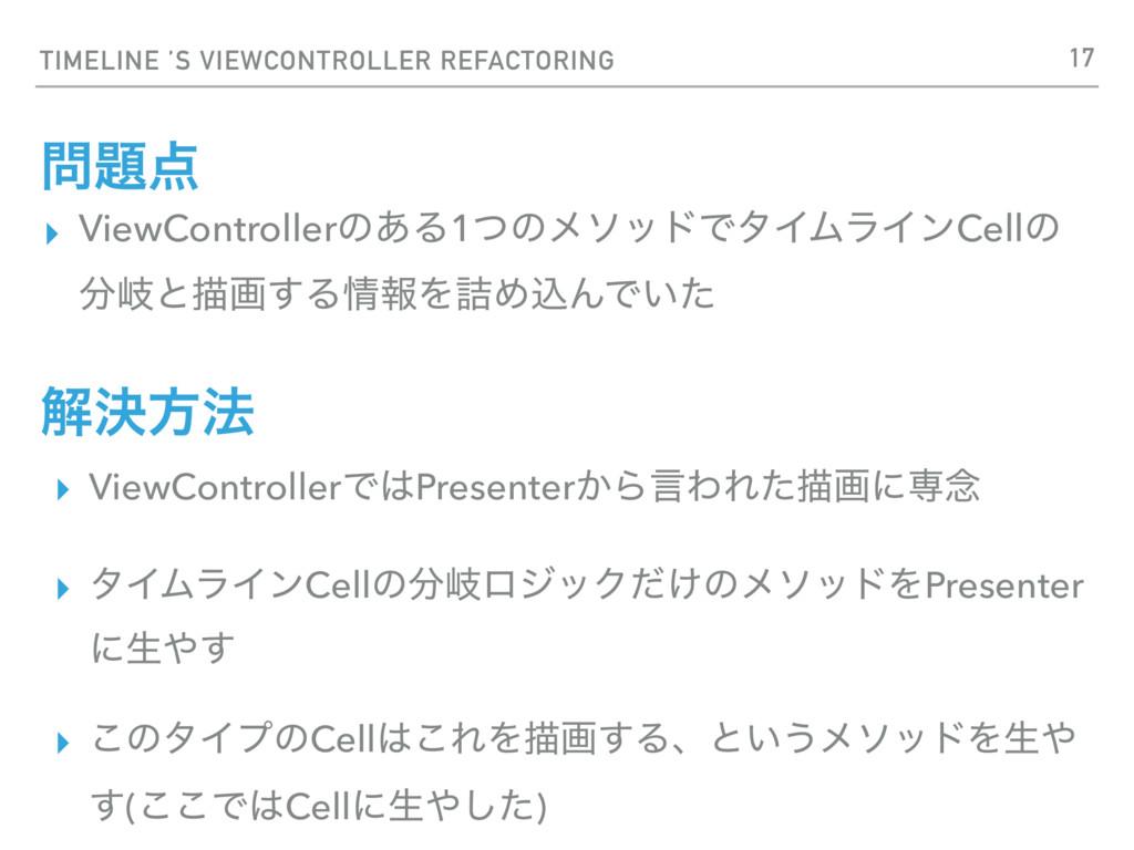 TIMELINE 'S VIEWCONTROLLER REFACTORING  ▸ Vi...