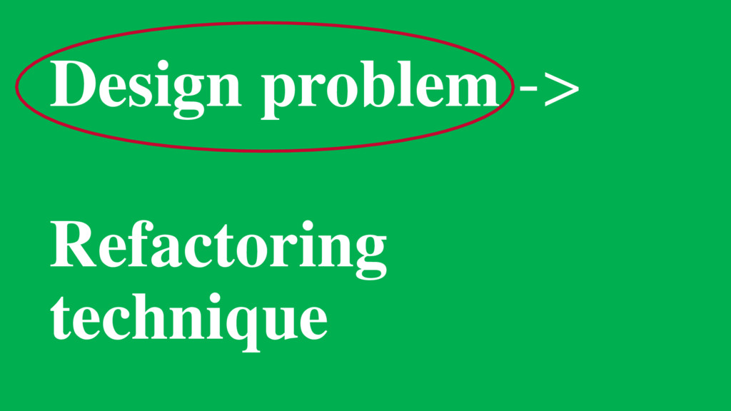 Design problem -> Refactoring technique