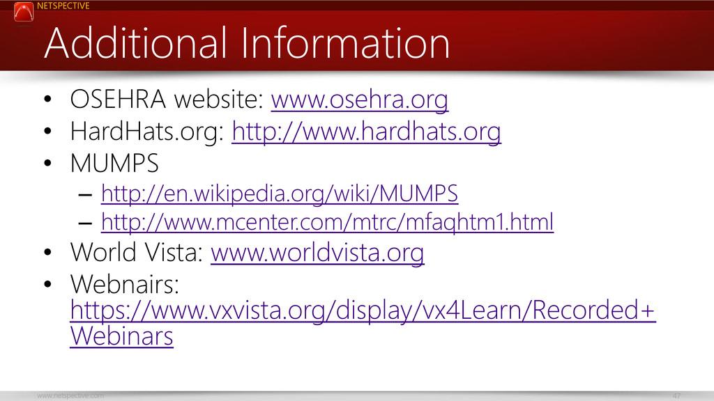 NETSPECTIVE www.netspective.com 47 Additional I...