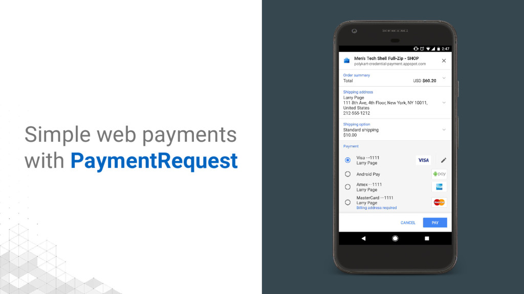 Simple web payments with PaymentRequest