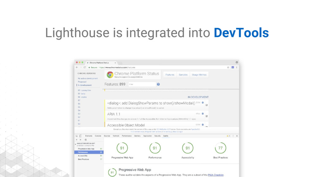 Lighthouse is integrated into DevTools