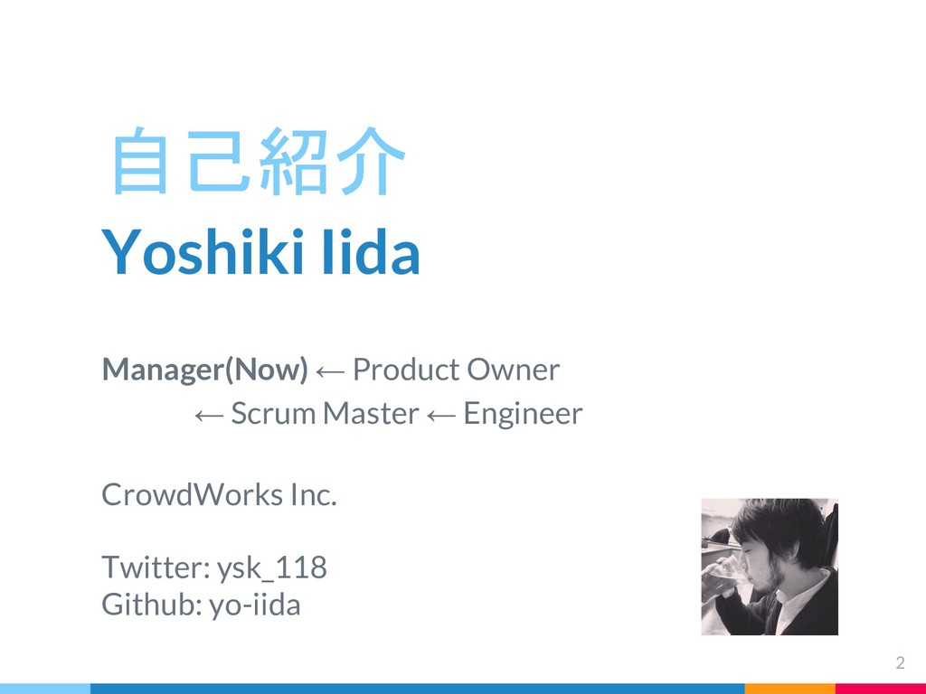自己紹介 Yoshiki Iida Manager(Now) ← Product Owner ...