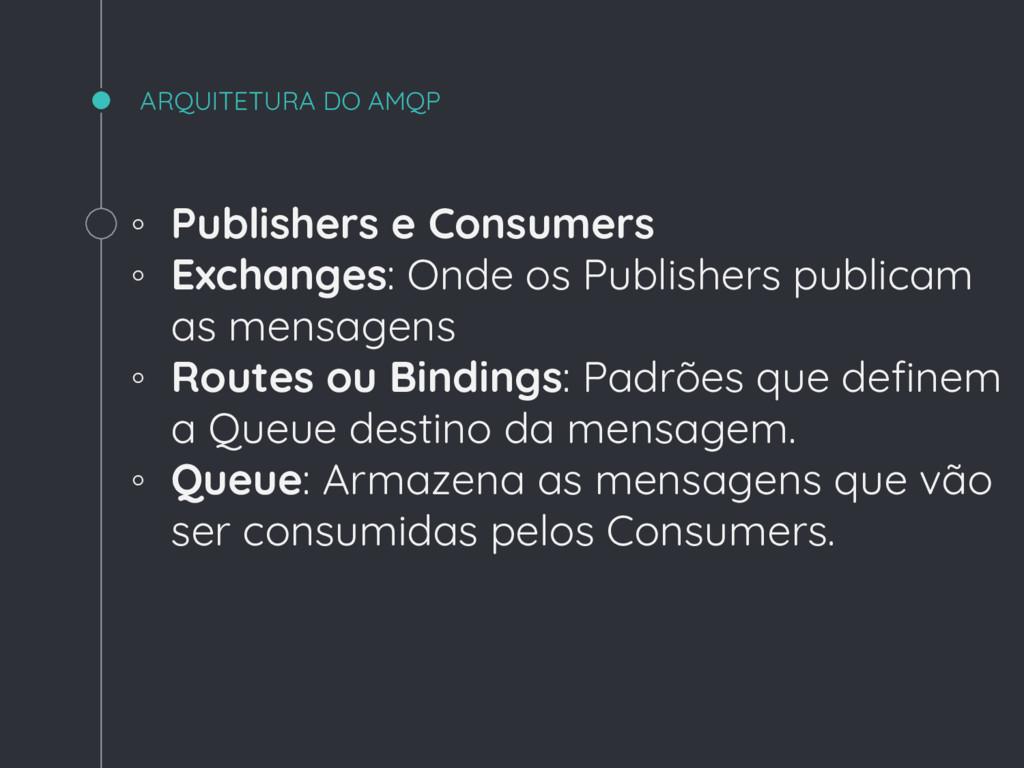 ARQUITETURA DO AMQP ◦ Publishers e Consumers ◦ ...