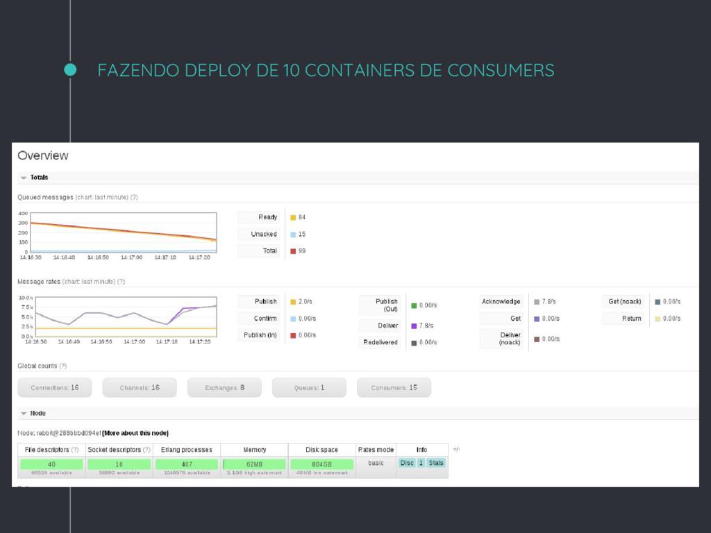 FAZENDO DEPLOY DE 10 CONTAINERS DE CONSUMERS