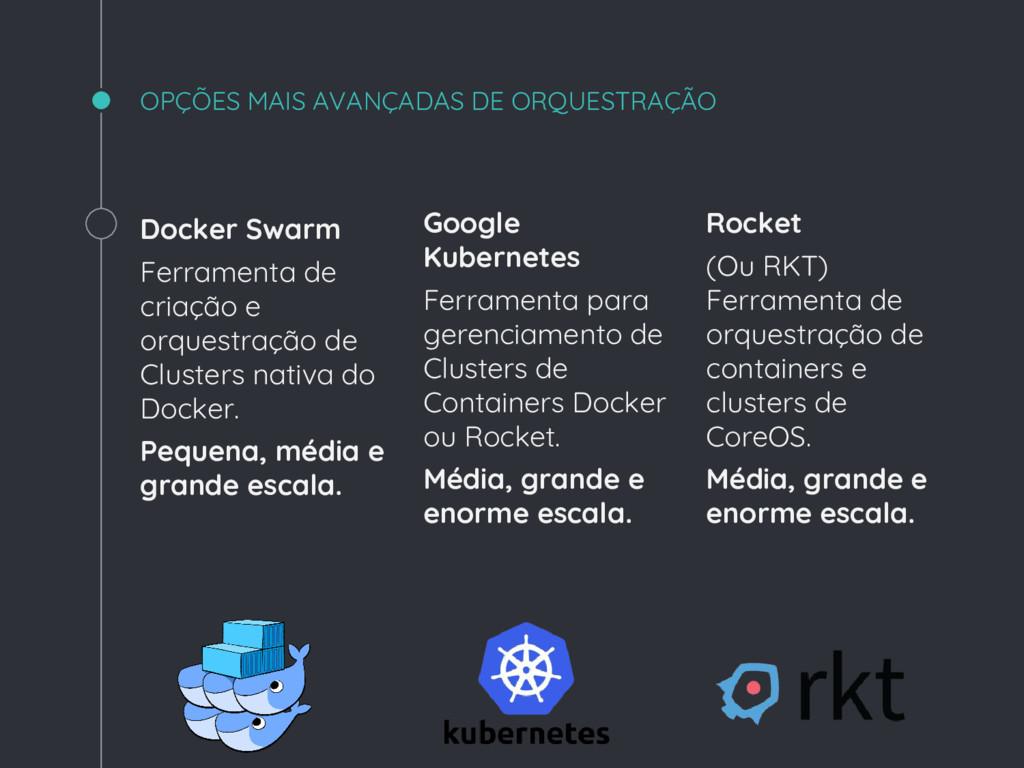 OPÇÕES MAIS AVANÇADAS DE ORQUESTRAÇÃO Docker Sw...