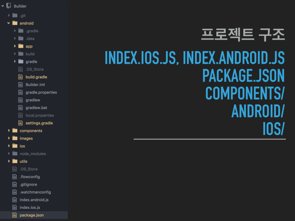 INDEX.IOS.JS, INDEX.ANDROID.JS PACKAGE.JSON COM...