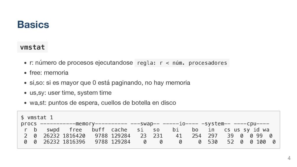 Basics v m s t a t r: número de procesos ejecut...