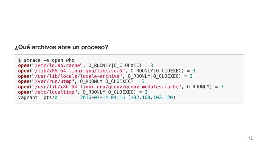 ¿Qué archivos abre un proceso? $ s t r a c e - ...