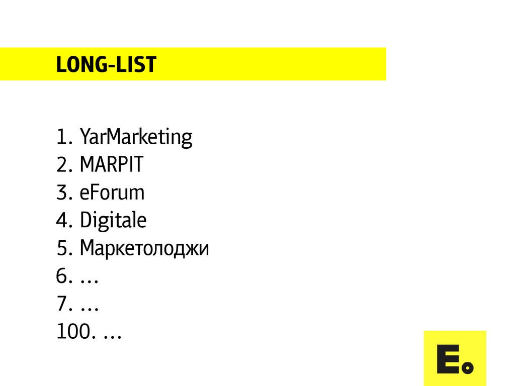 LONG-LIST 1. YarMarketing 2. MARPIT 3. eForum 4...