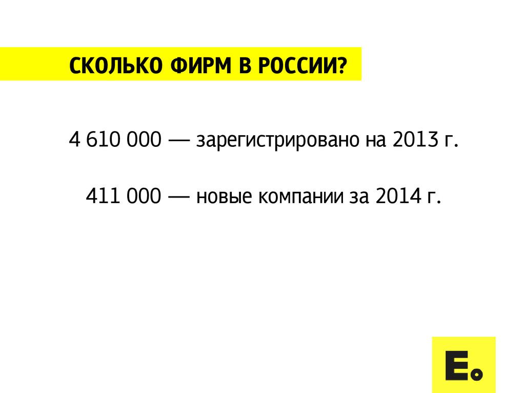 СКОЛЬКО ФИРМ В РОССИИ? 4 610 000 — зарегистриро...