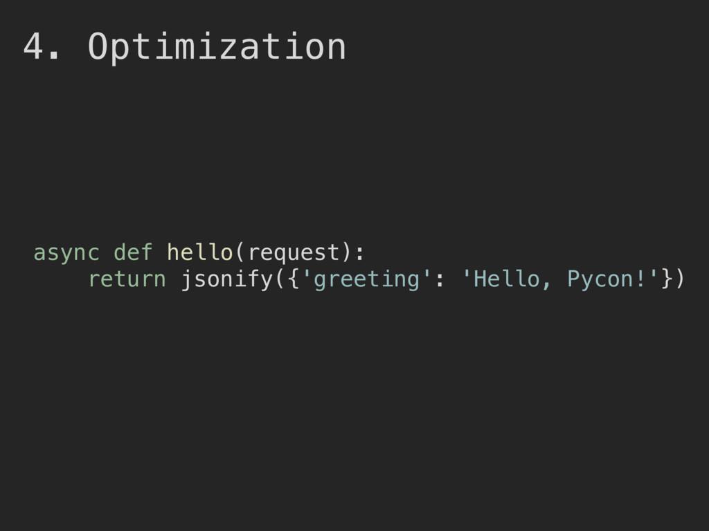 4. Optimization async def hello(request): retur...