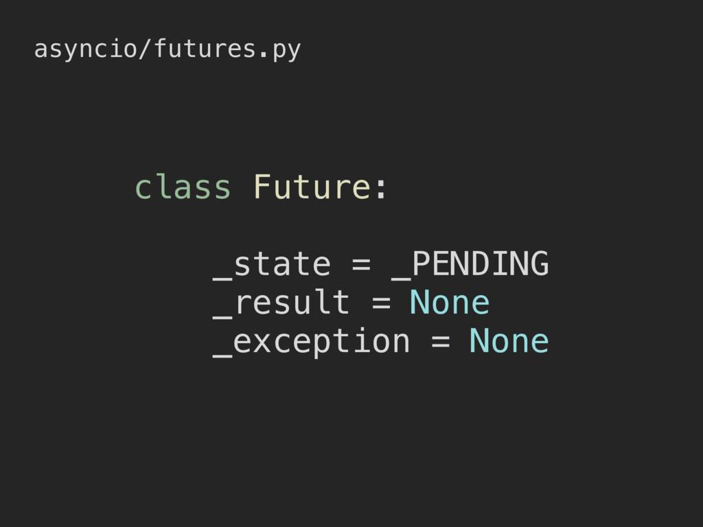 asyncio/futures.py class Future: _state = _PEND...