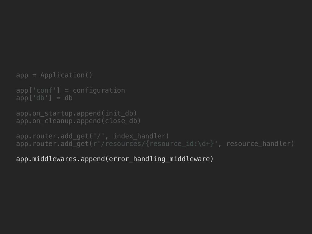 app = Application() app['conf'] = configuration...