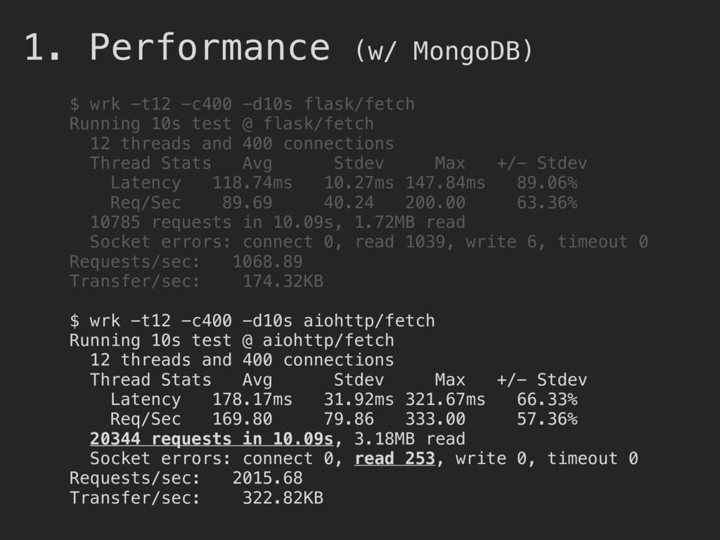 1. Performance (w/ MongoDB) $ wrk -t12 -c400 -d...