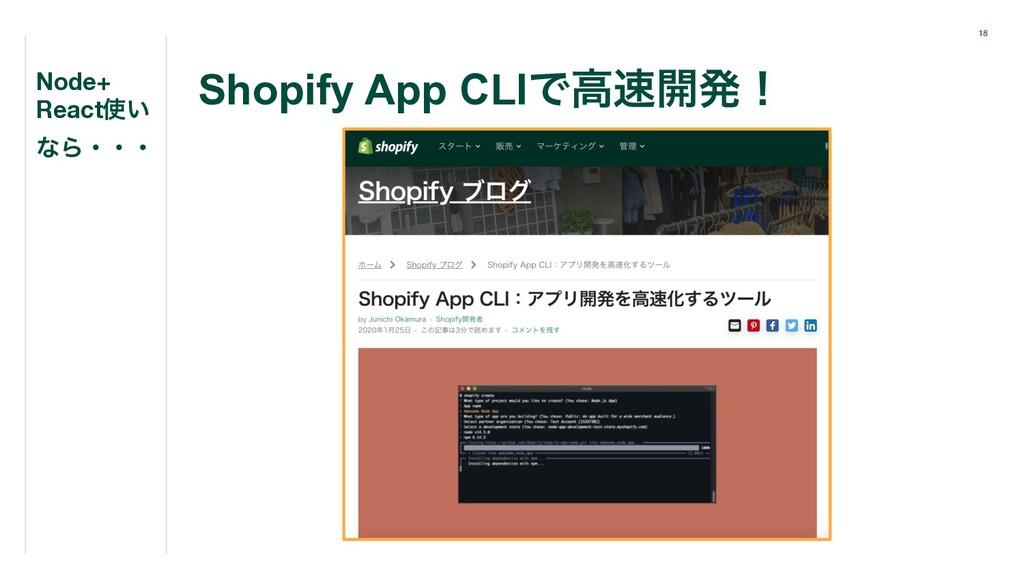 18 Shopify App CLIͰߴ։ൃʂ Node+ React͍ ͳΒɾɾɾ