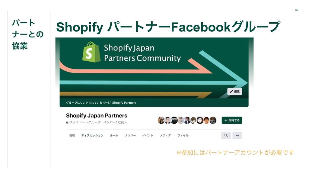 30 Shopify ύʔτφʔFacebookάϧʔϓ ύʔτ φʔͱͷ ڠۀ ※Ճʹύ...