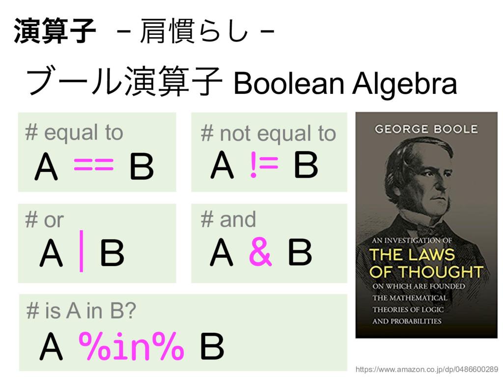 ԋࢠ− ݞ׳Β͠ − ϒʔϧԋࢠ Boolean Algebra A == B A ...