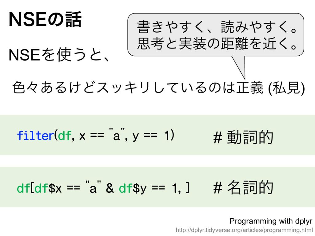 "filter(df, x == ""a"", y == 1) /4&ͷ NSEΛ͏ͱɺ d..."