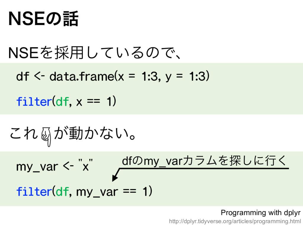 df <- data.frame(x = 1:3, y = 1:3) filter(df, ...