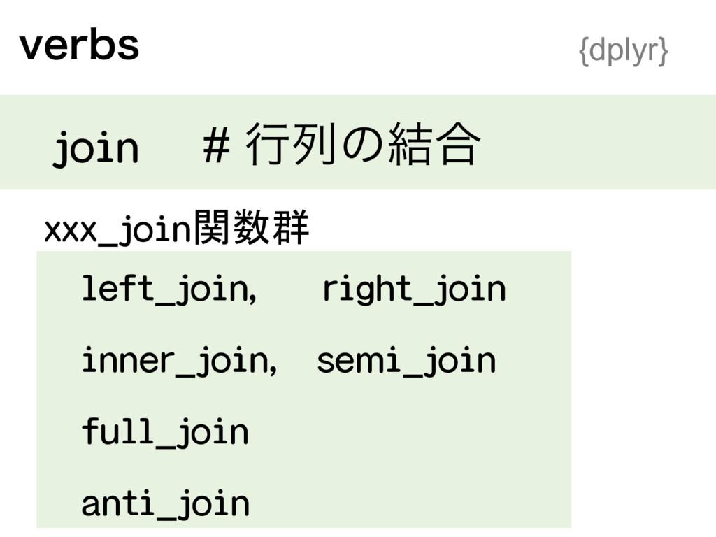 WFSCT {dplyr} join # ߦྻͷ݁߹ xxx_join関数群 left_jo...