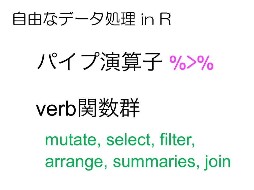 ύΠϓԋࢠ %>% verbؔ܈ mutate, select, filter, arr...