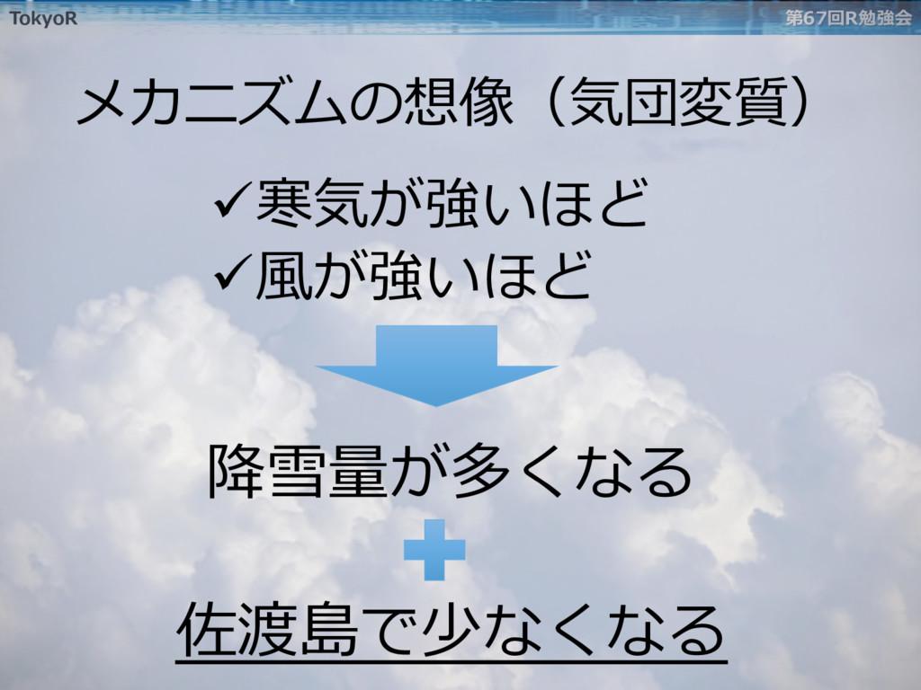 TokyoR 第67回R勉強会 ü寒気が強いほど ü⾵が強いほど 降雪量が多くなる メカニ...